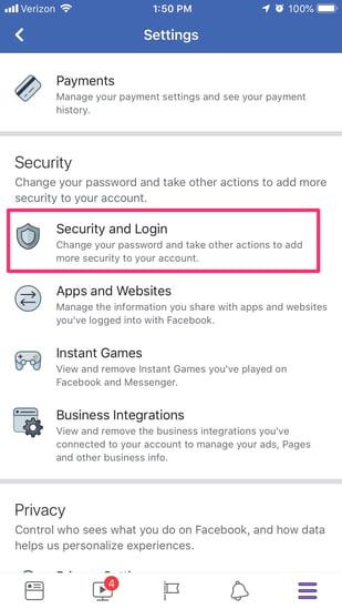 change facebook password step 5