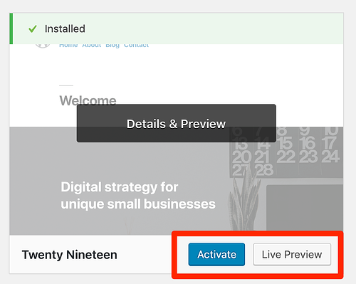 Activate or preview WordPress theme
