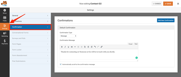 Set up confirmations for WordPress contact form