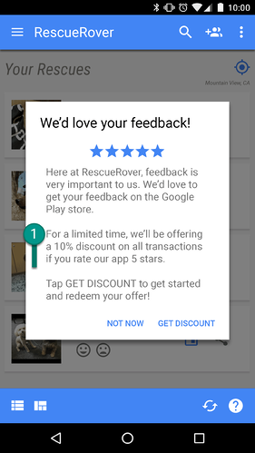 android customer rating request