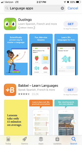 Babbel language educational app example