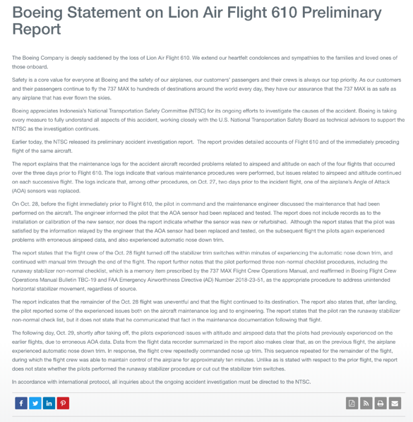 Boeing detailed press release