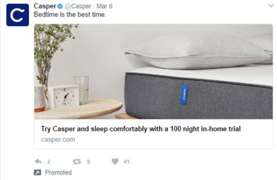Casper clean bed tweet