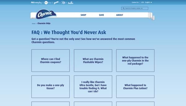 Charmin FAQ page