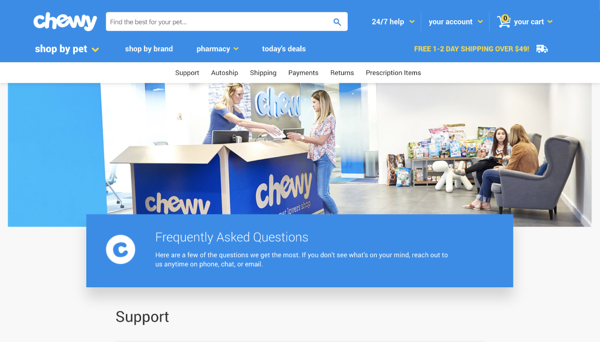 Chewy FAQ page