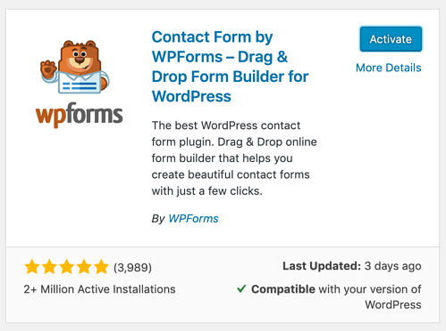 Activate a WordPress plugin