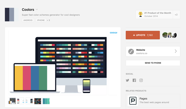 Coolors ProductHunt listing