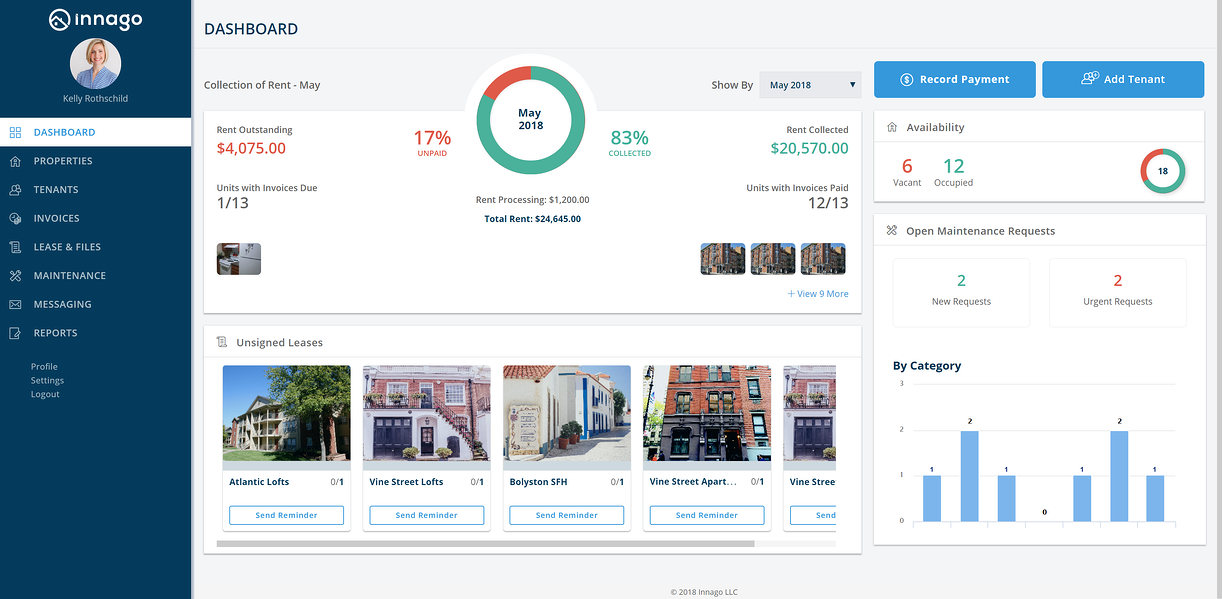 Innago dashboard for free property management