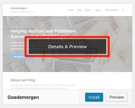 View details and preview WordPress theme