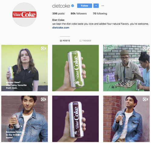 Diet Coke product announcement Instagram