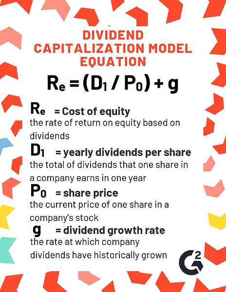Dividend capitalization model equation