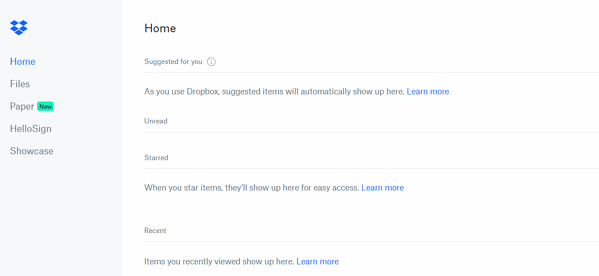 Dropbox browsing and file search