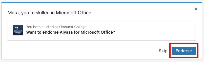 Endorse a Skill on LinkedIn