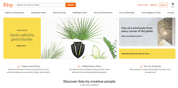 Etsy is an online marketplace for niche crafts.