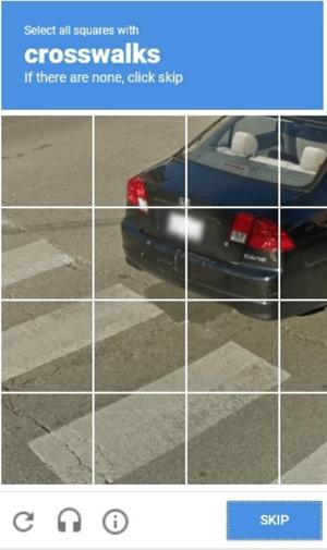 Example of reCAPTCHA