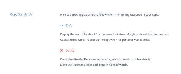 Facebook Style Guide Example