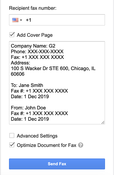 example of a fax cover sheet on google docs