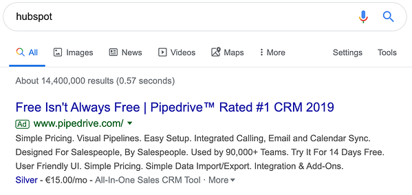 pipedrive hubspot ad