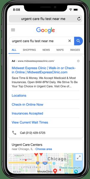 urgent care google search