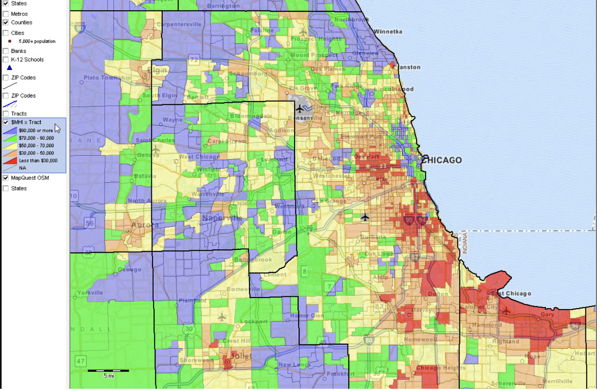 GIS map showing the income of differing neighborhoods in a city