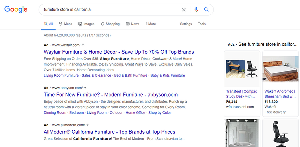 furniture store california