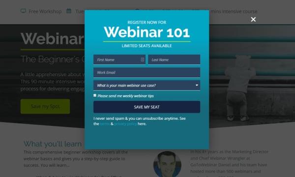 popup for webinar