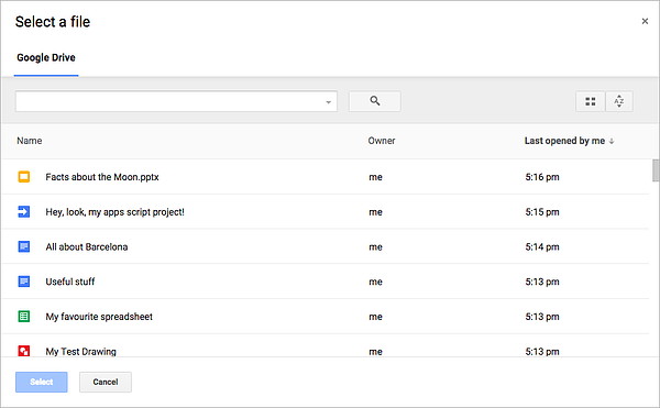 The Google Drive interface, a free cloud storage product
