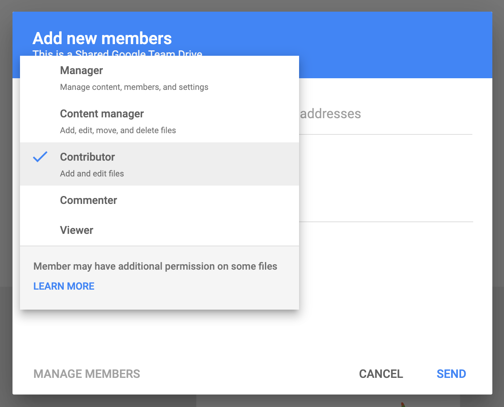 Edit Permissions in Google Team Drive
