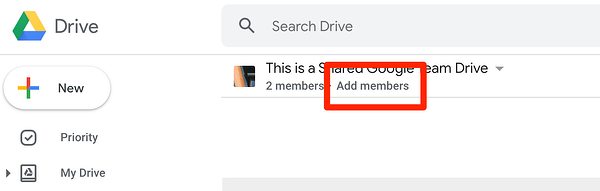Add Team Members to Google Team Drive