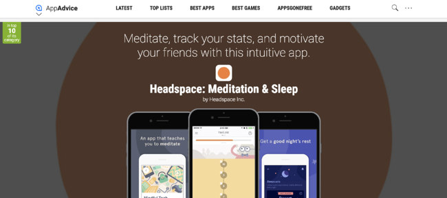 Headspace app review on AppAdvice