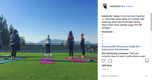 Hootsuite Yoga Instagram post