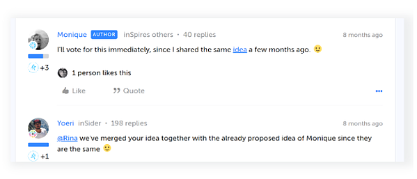 Example of upvoting on product ideation requests