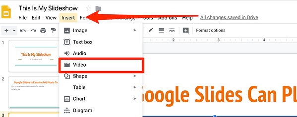 Insert Video into Google Slides
