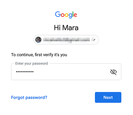 Enter Password in Gmail