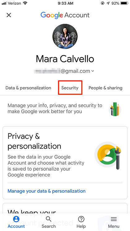 Security in Gmail iPhone App