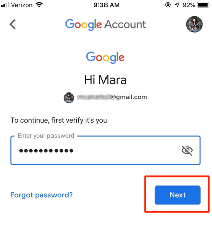 Enter Gmail Password in iPhone App