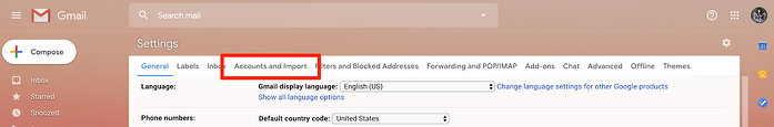 Click Accounts and Imports in Gmail