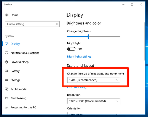Scale and Layout in Windows 10