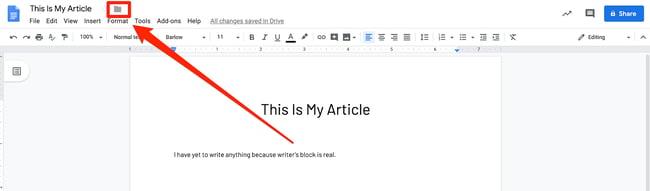 Click the Folder Icon