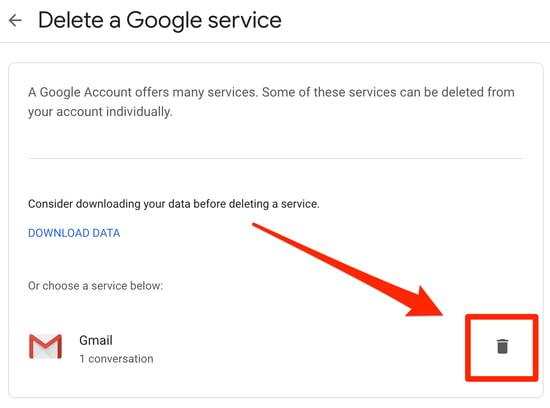Click Trash Can Icon to Delete Gmail Account