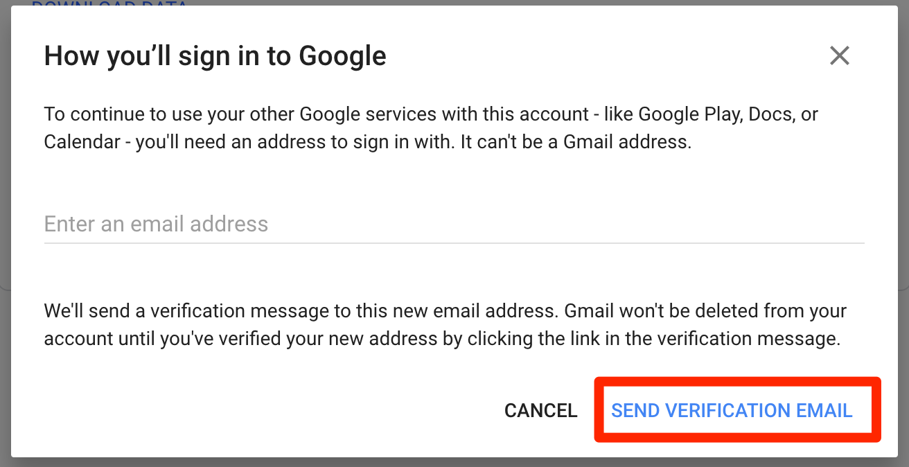 Send Verification Email to Delete Gmail