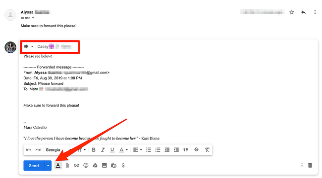 Forwarding in Gmail