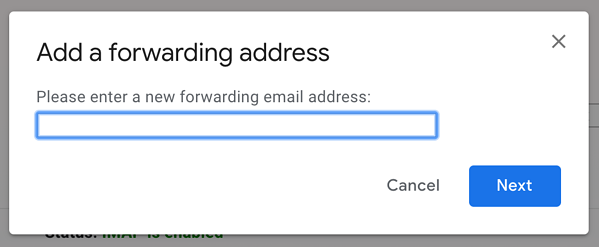 Enter forwarding address in Gmail