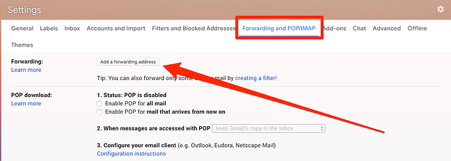 Add a forwarding address in Gmail