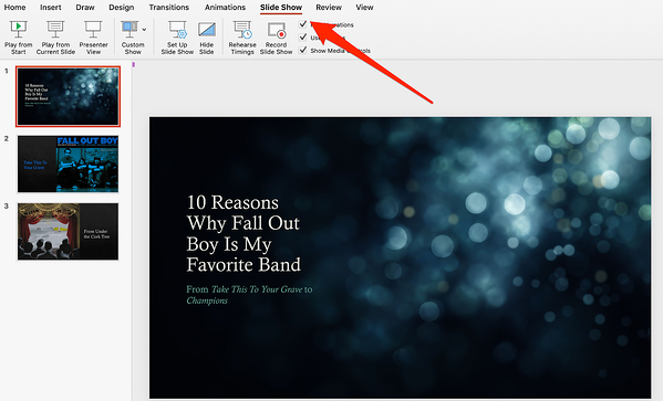 Click Slide Show in PowerPoint
