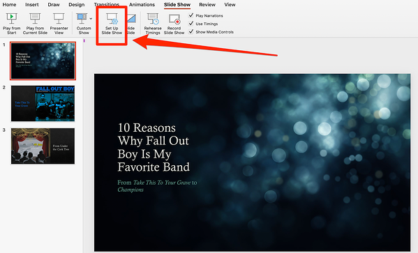 Click Set Up Slide Show in PowerPoint