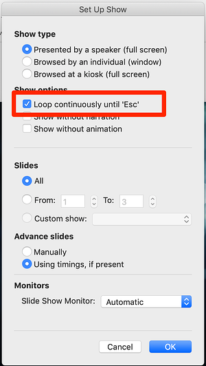 Click Loop continuously in PowerPoint