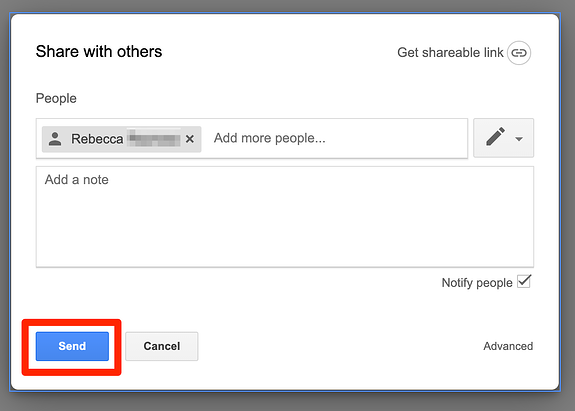 Click Send to Share Folder in Google Drive