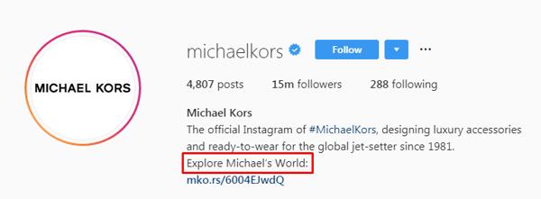 Michael Kors IG bio