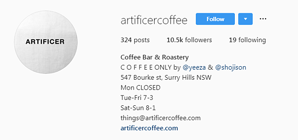 Artificer Coffee IG bio